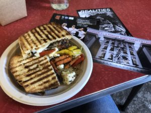 the hot grilled eggplant sandwich at Readers
